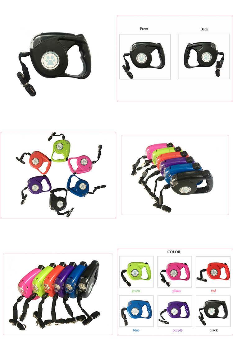 Wholesale Premium Automatic Retractable Dog Lead with Metal Hooks for sale