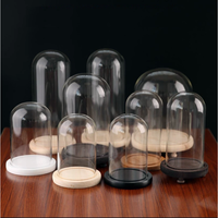 lead free clear glass dome with wood stand