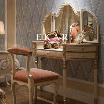 Antique Design Wooden White Dressing Table Furniture With Mirror