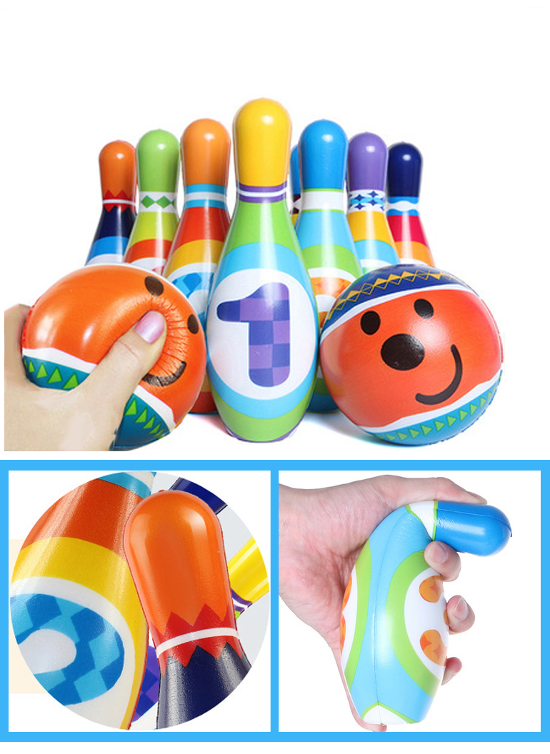 Child soft bowling ball toy set sport game with figures