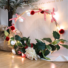 Christmas Garland Fairy Christmas Decoration String Light Pine Cone Copper Wire Garland Lights Indoor Fairy Light Red Fruits LED Light