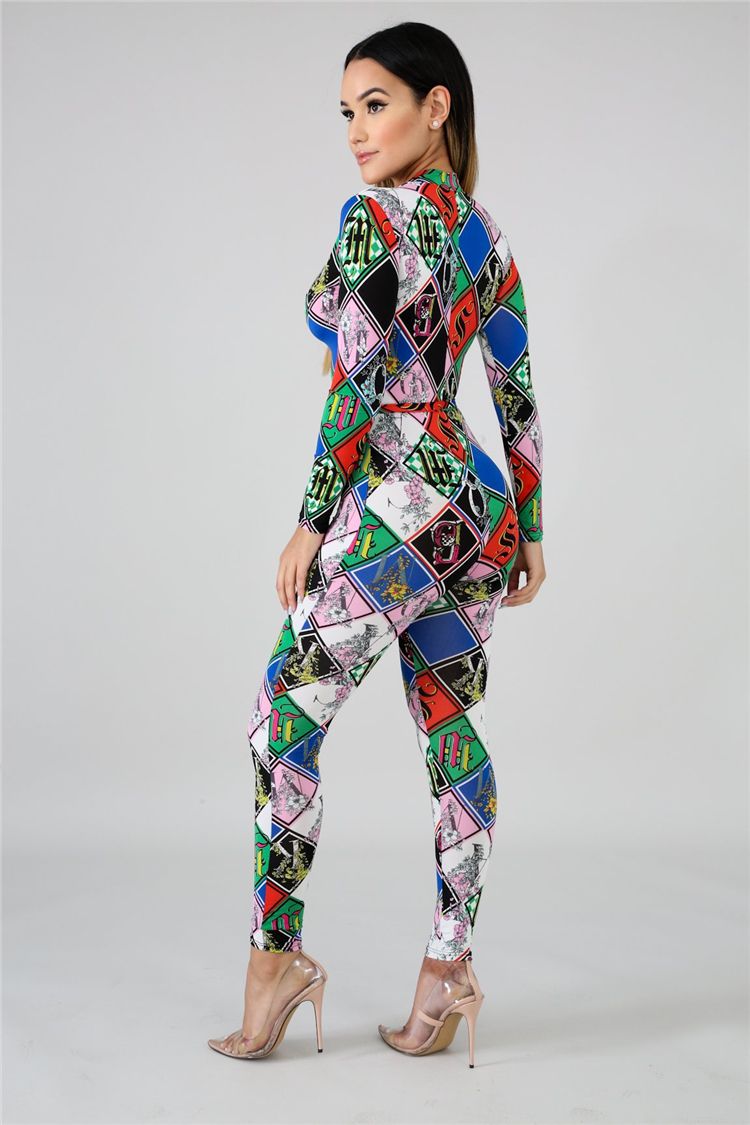 EB2072201 Sexy zip up v neck long sleeve digital printing belt fashion woman slim jumpsuit