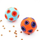 Interactive Treat Dispensing Dog Toys Ball Squeaky Durable Rubber Pet Dog Chew Toys Ball with Small Bell