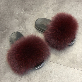 Existing custom stocks real fox slides fur slippers