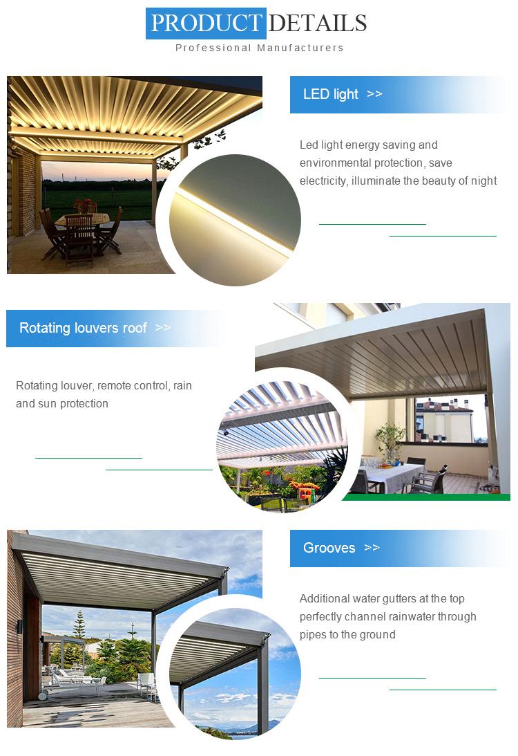 Patio aluminum f<em></em>rame luxury restaurant outdoor furniture cover with wind sensor