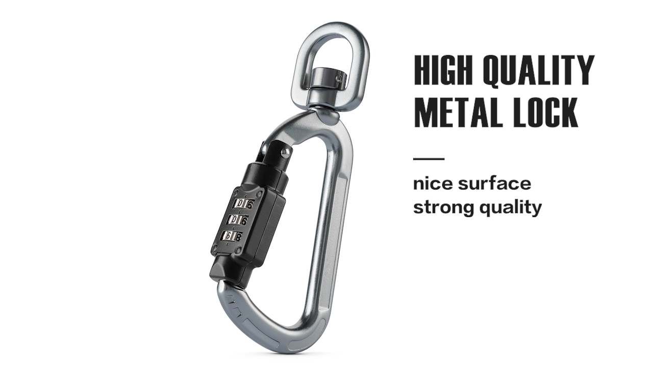 High quality customization swivel Climb Carabiner Digital Cable Lock