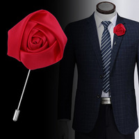 Men's suits fabric accessories rose flower brooch pins classic 5CM long needle lapel pins
