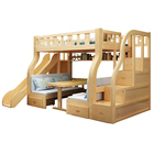 Popular High Quality Children Wooden Furniture Set Bunk Double Bed with Desk and Slide for Kids