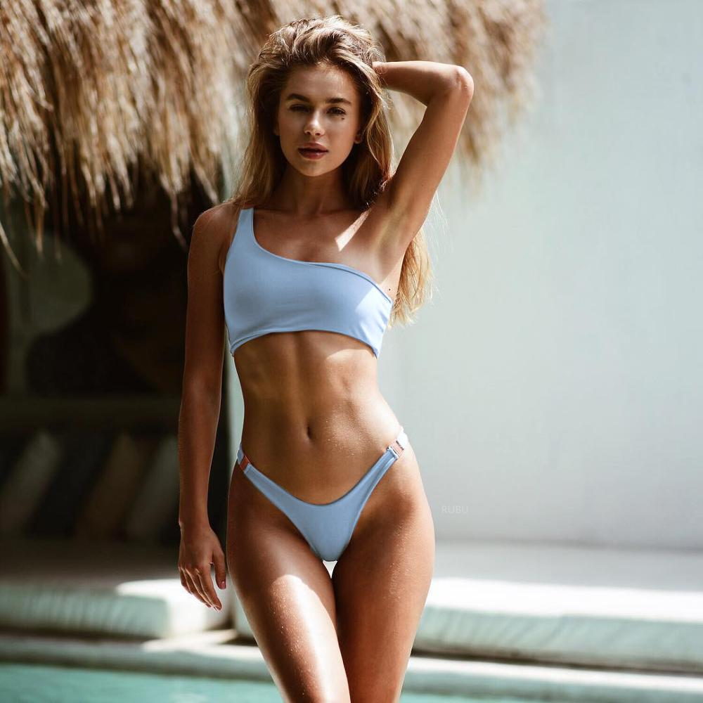 Women Split One-Shoulder Solid-Color Sexi Bikini Designer <strong>Sexy</strong> Two Piece <strong>Swimsuit</strong>