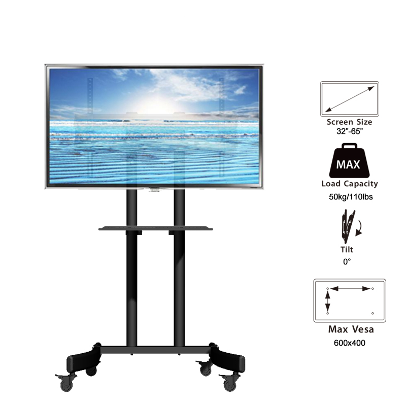 adjustable mobile TV screen display stand tv cart for 32 to 65 Inch