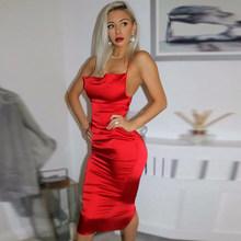 Неоновое сатиновое платье на шнуровке 2020, летнее женское облегающее длинное платье миди без рукавов с открытой спиной, элегантные наряды дл...(Китай)