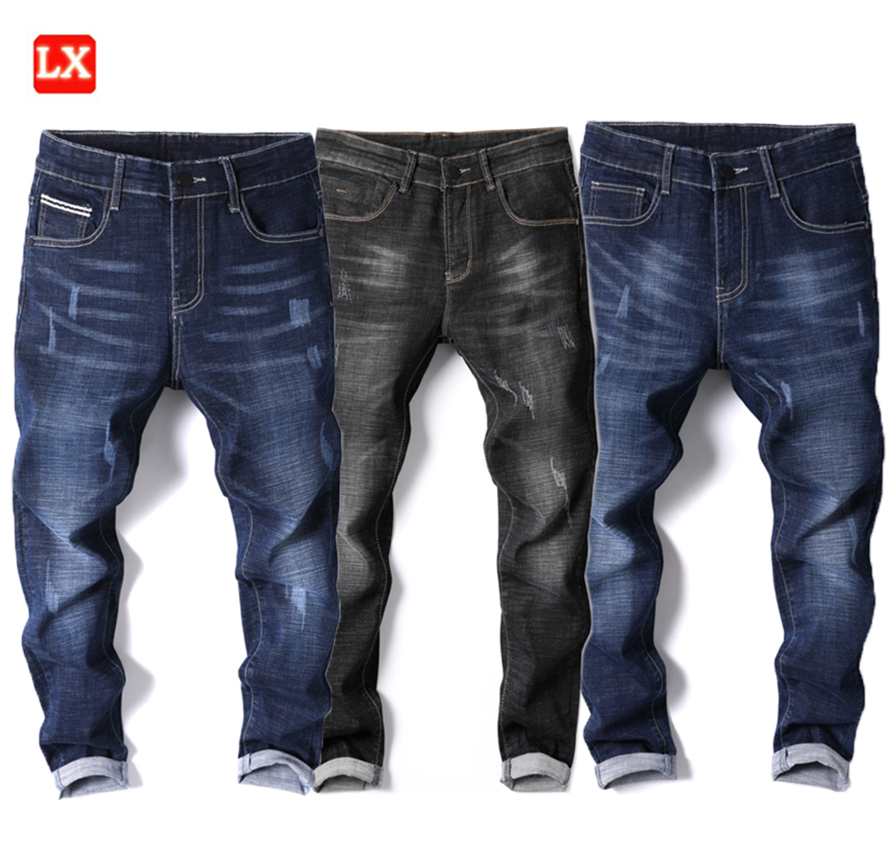थोक पतला उच्च गुणवत्ता फट फैशन स्लिम फिट खिंचाव नीले और काले डेनिम धोया जींस पुरुषों पैंट