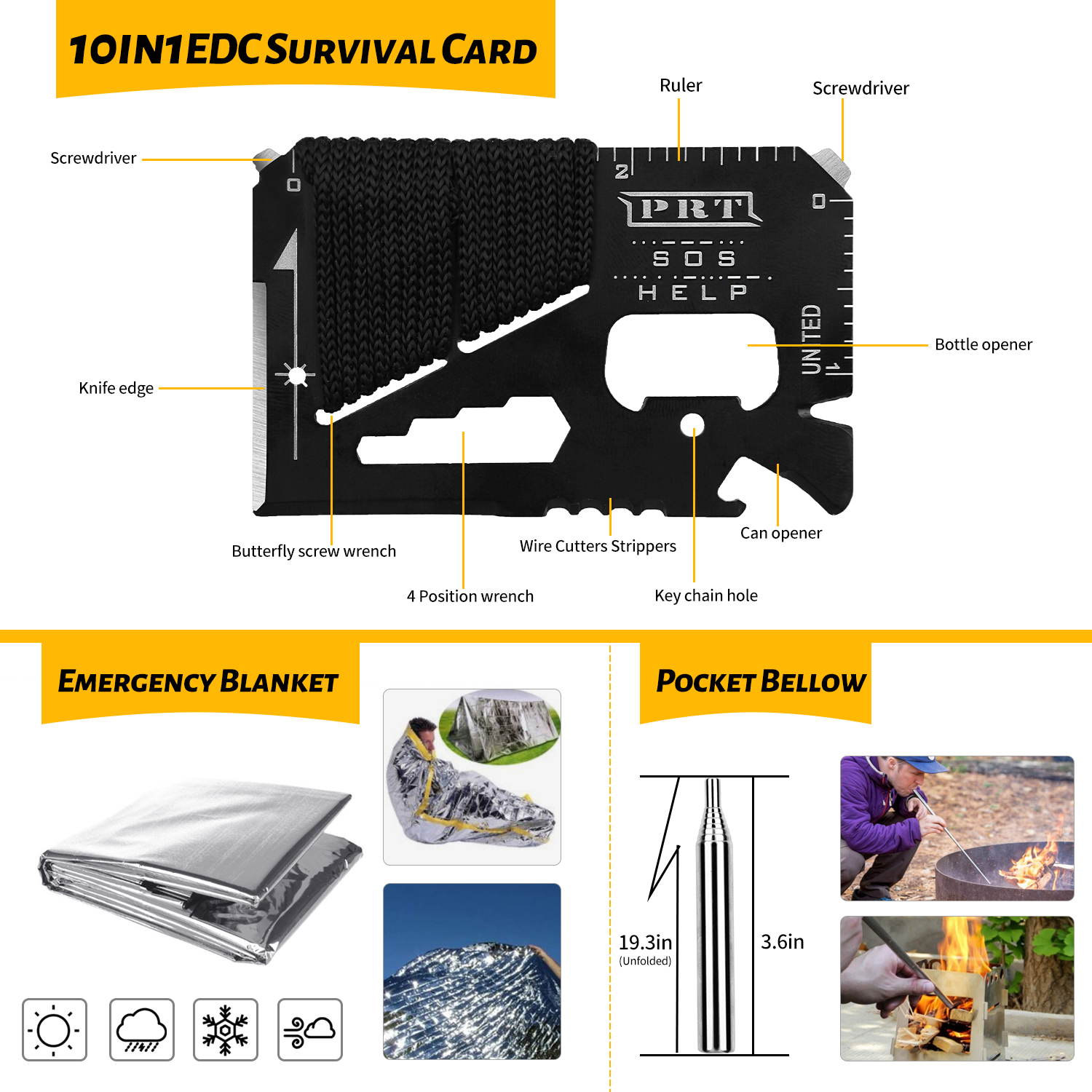 Emergency 60 In 1 Multifunctional Whistle earthquake survival kits outdoor first aid kit bag