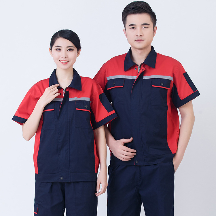 Wholesale work clothes set summer short-sleeve breathable skin-friendly work clothes custom