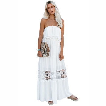 Latest Hot Sale White Lace Strapless Crochet Women Maxi Dress