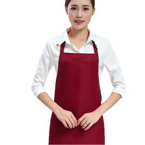 Oem Chef Cooking Black  Bib Kitchen Apron Customized Logo  With 2 Pocket