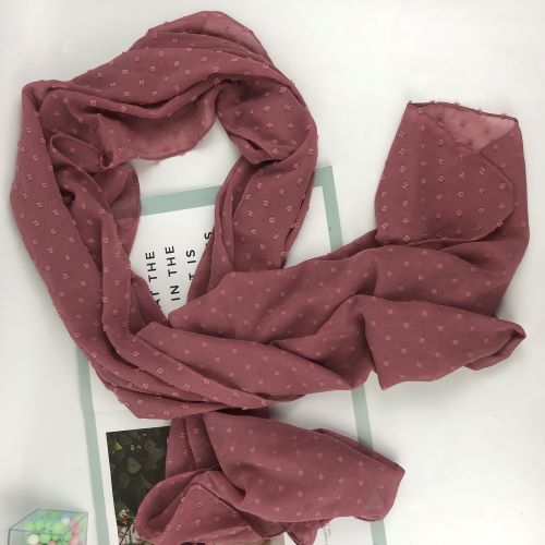 New solid color stereo chiffon jacquard stereo plum point scarf Muslim scarf