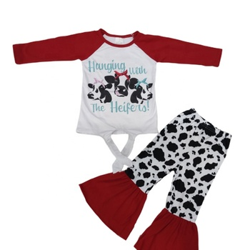 Latest Design Kids Children Clothing Sets baby Girls Boutique Fall Winter Clothes Cow print bell-bottomed pants