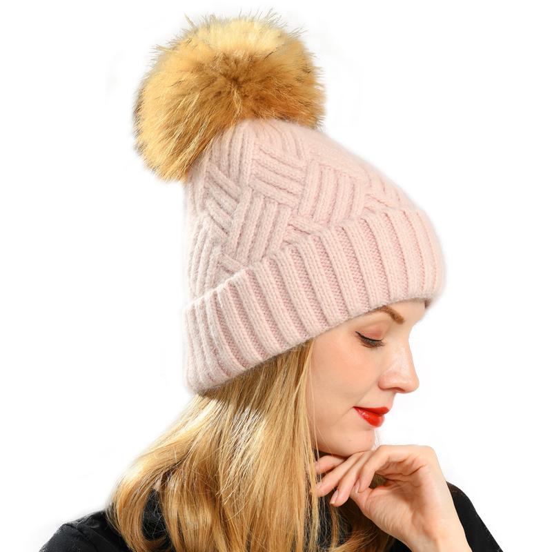 Зимняя женская кашемировая вязаная шапка с помпоном из натурального меха енота