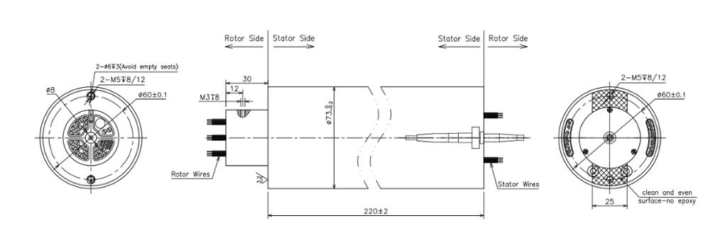 El anillo colectando multi del simulador de AXIS IP44 64 circula el conector del SC 2A para la tabla del movimiento 0