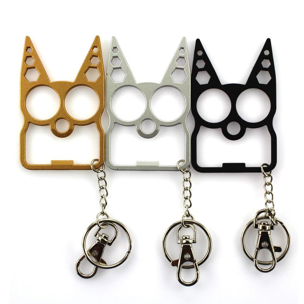 Алюминиевый сплав кошка кольцо для ключей современный дизайн сумка Шарм самообороны брелок для мужчин и женщин, подарок для девочки