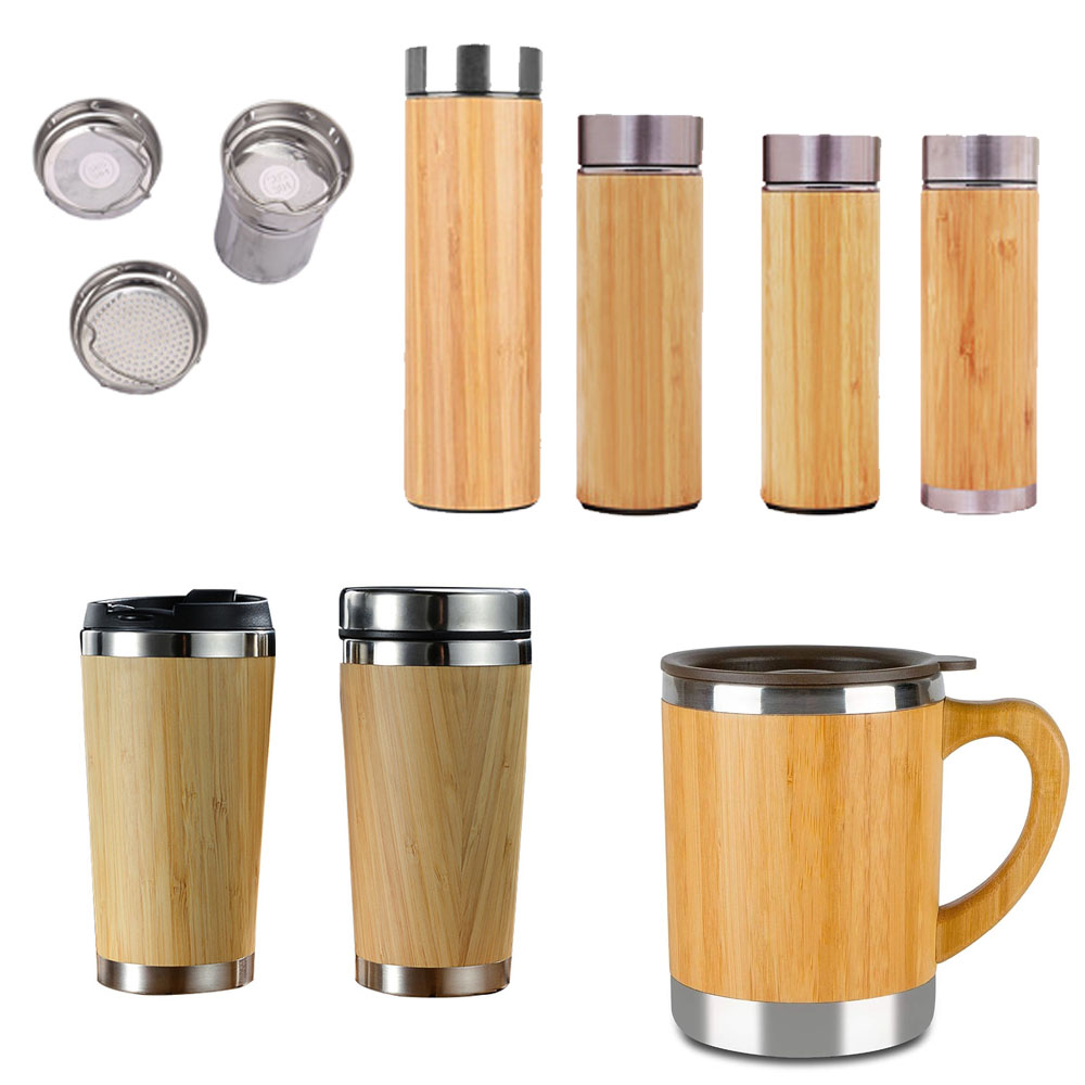 Drinking Cups Double Wall Tea Bottle Coffee Mugs Stainless Steel Bamboo Coffee Tumbler