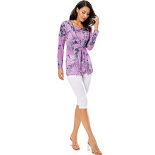 YTL женская блузка с длинным рукавом и квадратным вырезом, элегантная плиссированная блузка с цветочным принтом, Топы XS - 8XL H164N(Китай)
