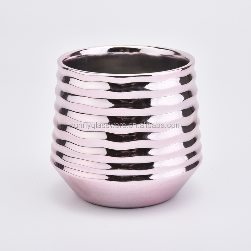 hot sale 11 oz electroplating ceramic candle vessel