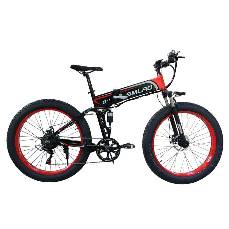 26 pollici Ruota di Neve 1000W Bicicletta Elettrica Pieghevole In lega di Alluminio Telaio Sospensioni bici elettrica e bici con 7 velocità