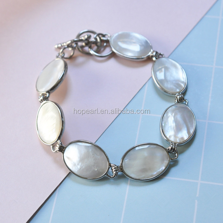 MOP105 Bracelet Link Chain for Women Jewelry Natural Shell Oval White Shell Bracelet
