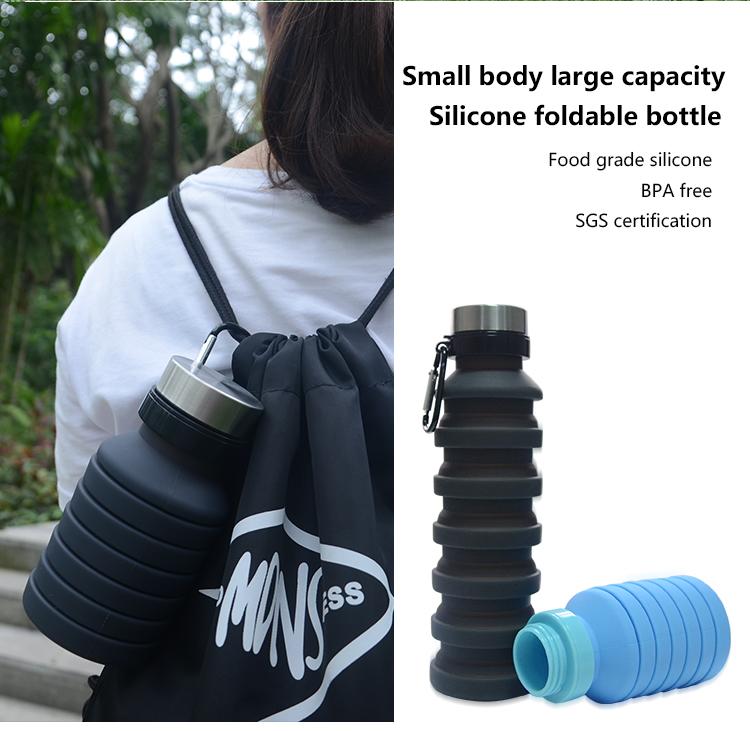 Silikon Folding Botol Air Dilipat Foldable Olahraga Minum Botol Air