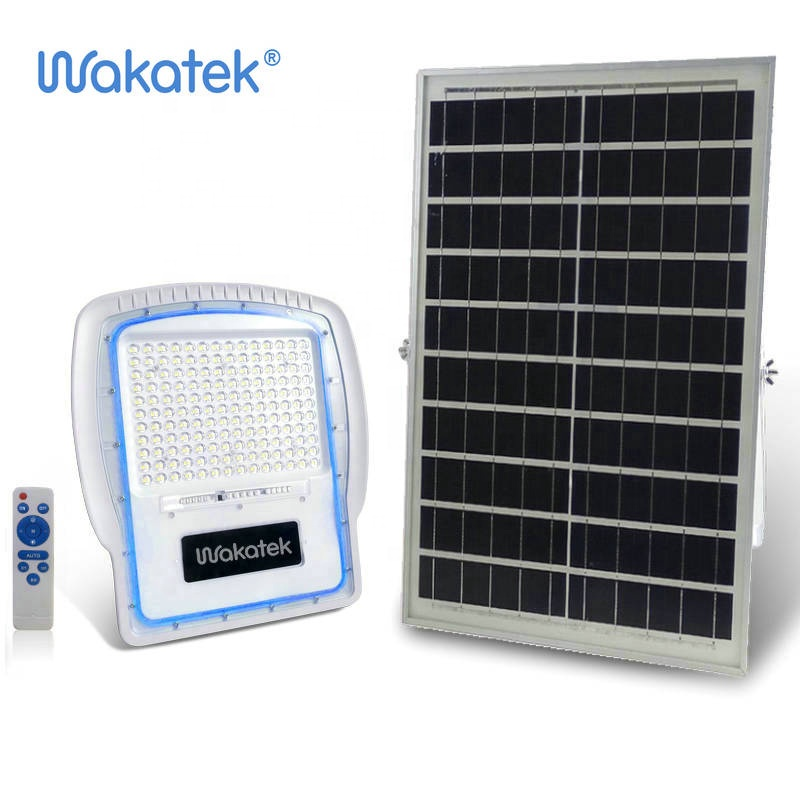 WAKATEK solar   300W aluminum led lamp ip65  rechargeable LED camping spot flood light