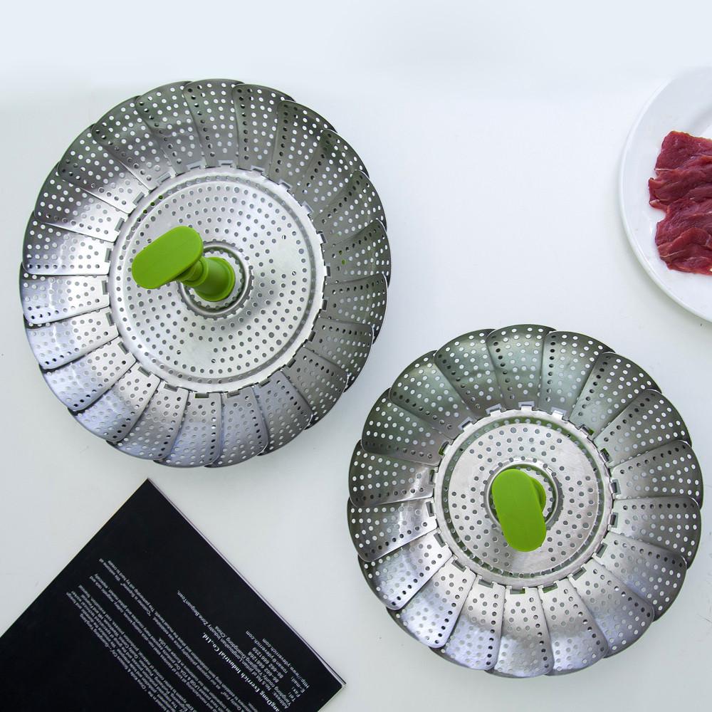 2019 Pork Bao Bun Dim Sum Vegetable Steamers Retractable Folding Household Kitchen Utensil Stainless Steel Food Steamer Basket