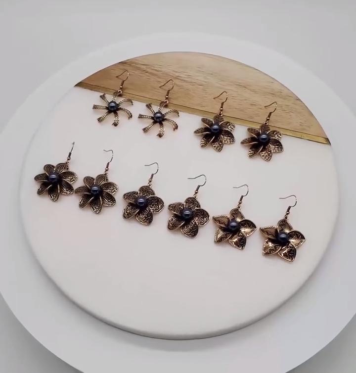 hot selling black enamel hawaiian  flower earrings for women