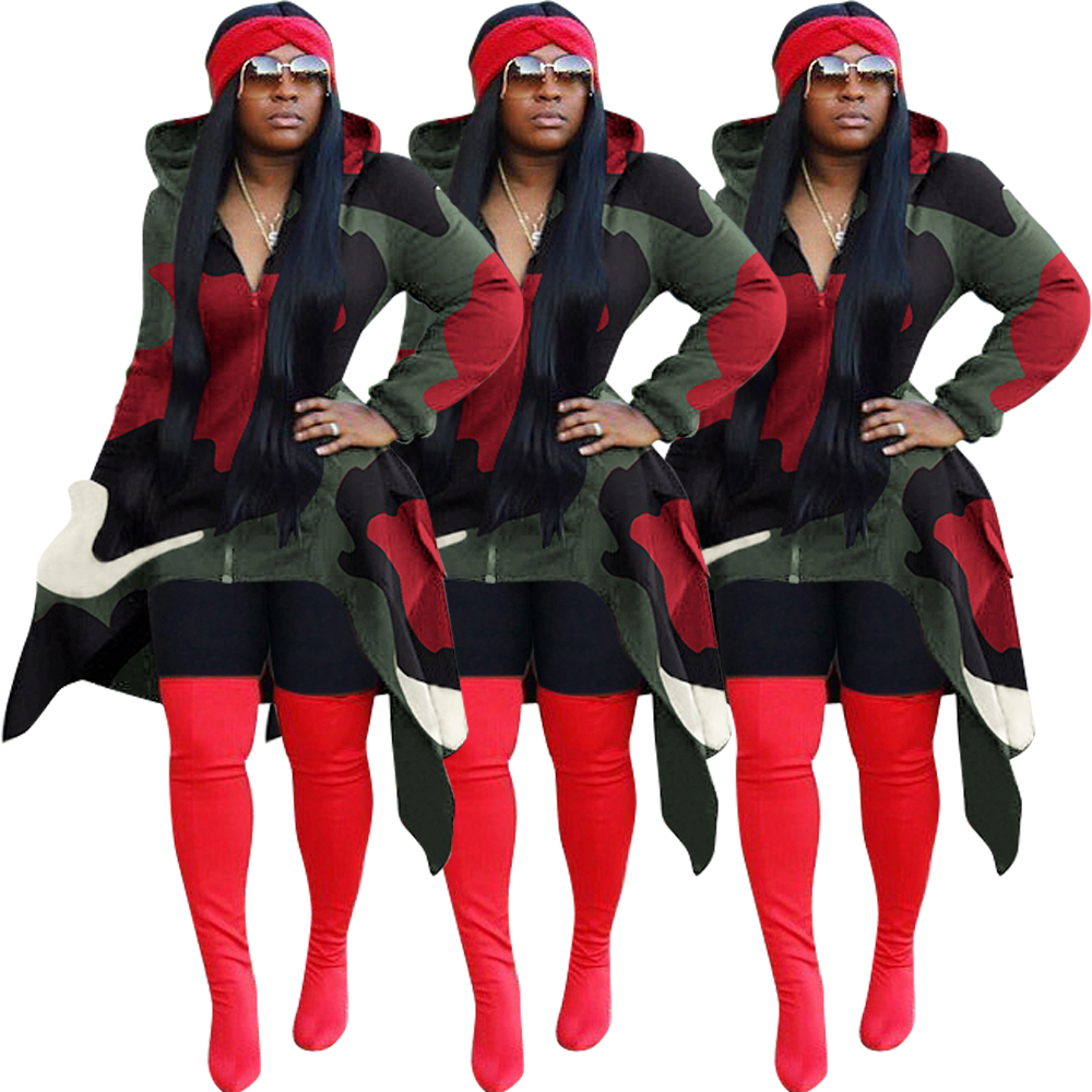 women clothing long sleeve Butterfly tail zipper cap camouflage sweater cardigan dress with hood FM-ZH5117
