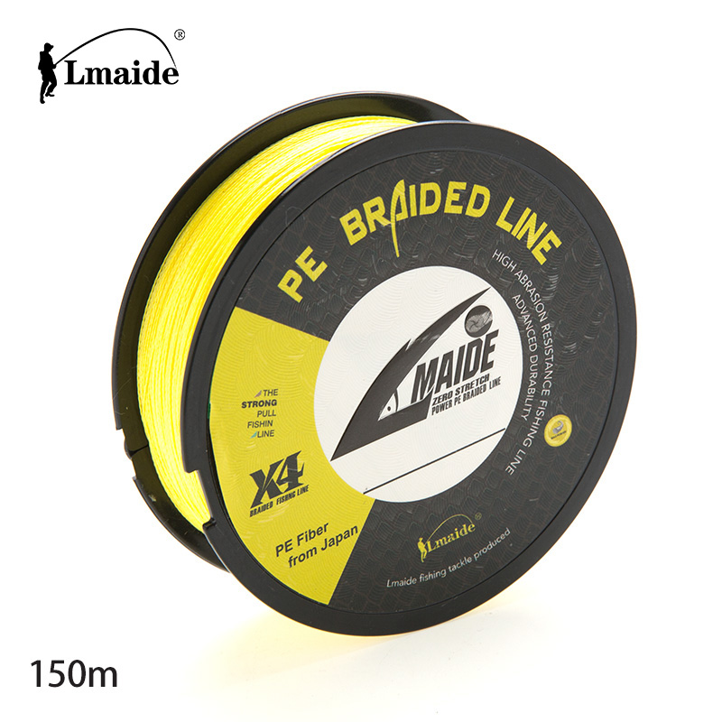 Best fishing line 4 strands pe braided line 150m monofilament super strong line 80LB, Green;gray;blue;orange red;white;yellow
