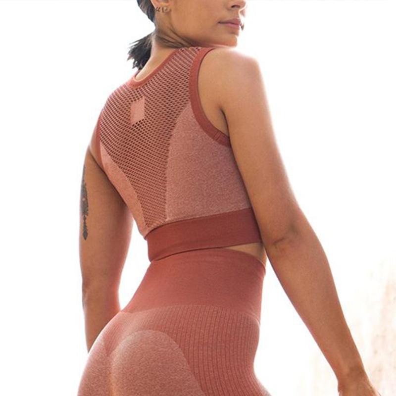 Ready to ship fashion sleeveless sexy lace fashion seamless fitness women yoga vest