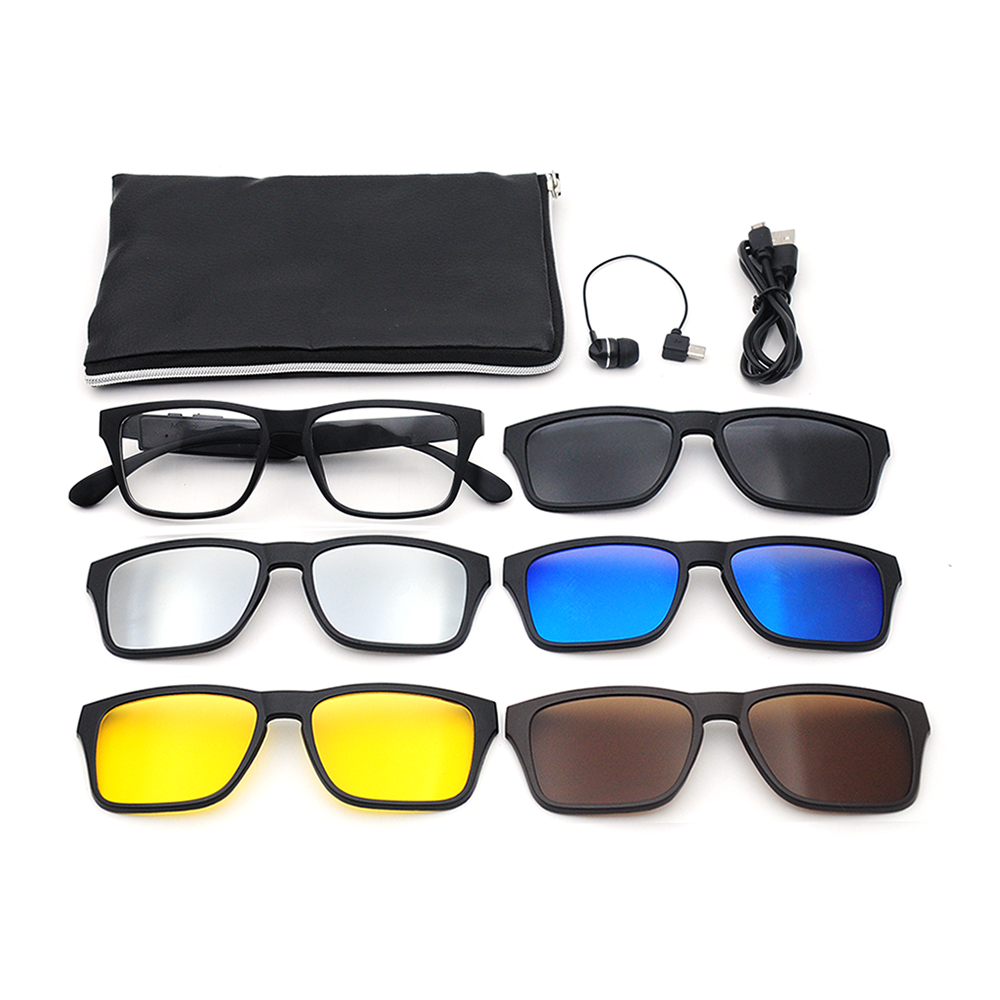 Customized logo colored magnet lenses 5 in 1 sunglasses with package bluetooth sunglasses