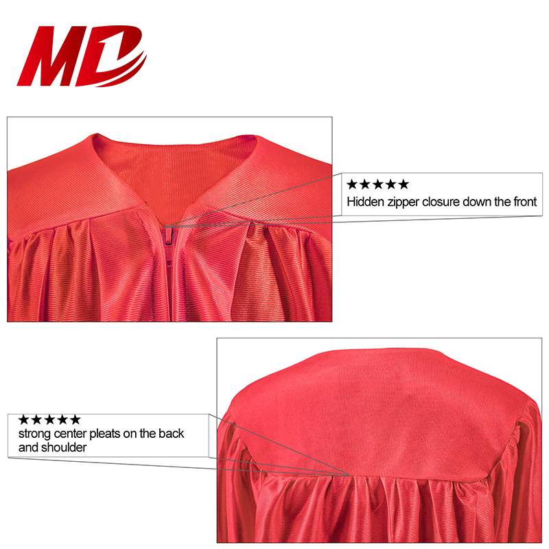 2019 Wholesale Graduation Gowns Caps and Tassels Shiny Red