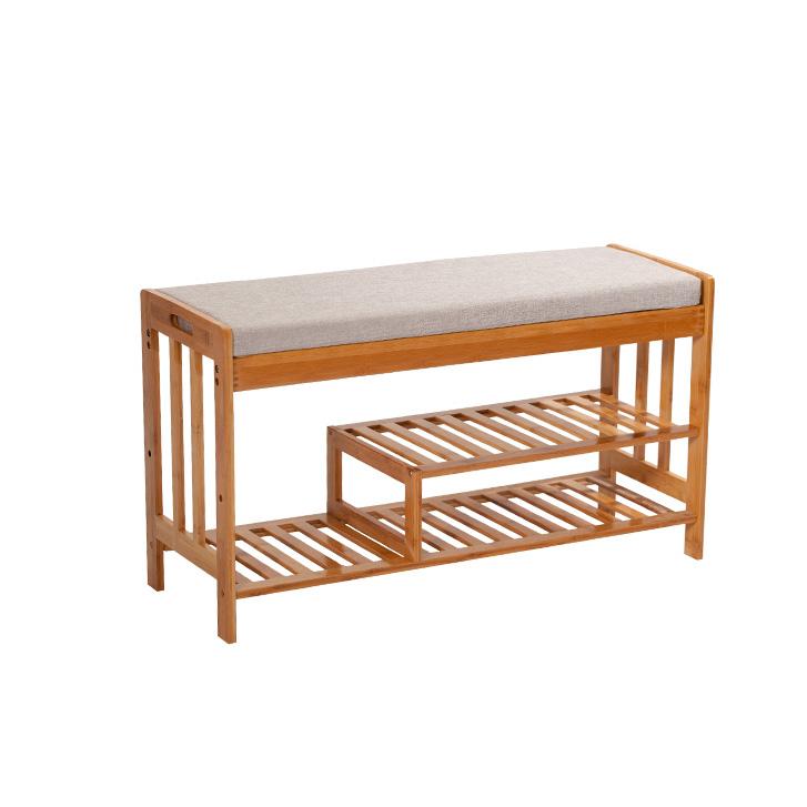 Doğal yardımcı tip çok fonksiyonlu bambu ayakkabı rafı için yastık ile Entryway depolama ev raf