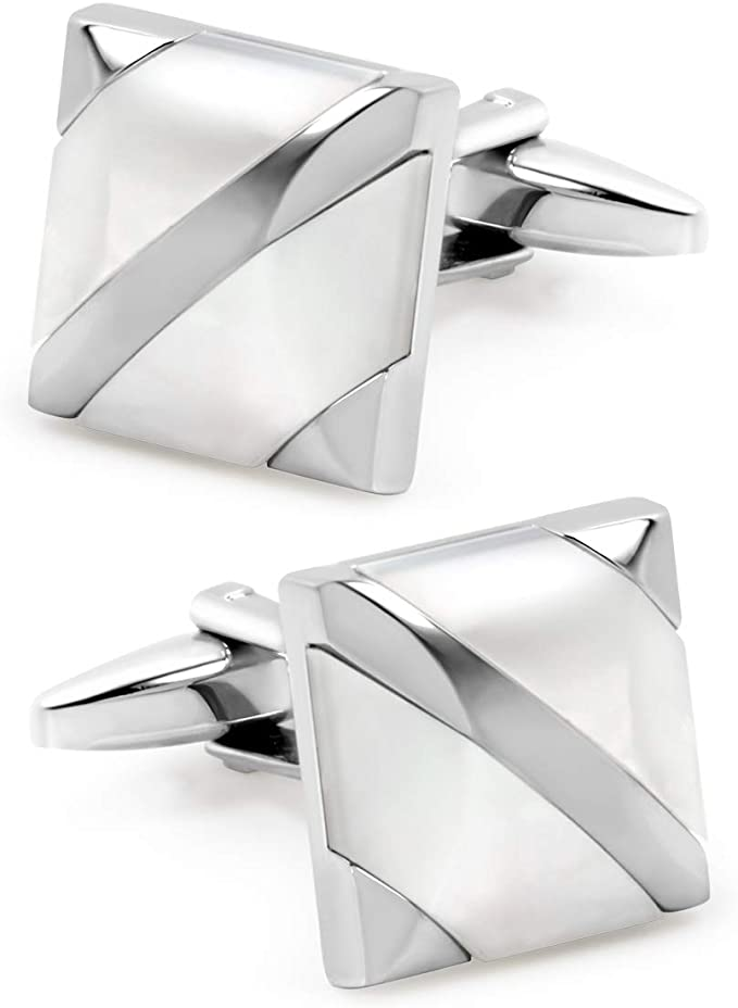 Mens Square Mother of Pearl Cufflinks Set for Tuxedo Shirts Business