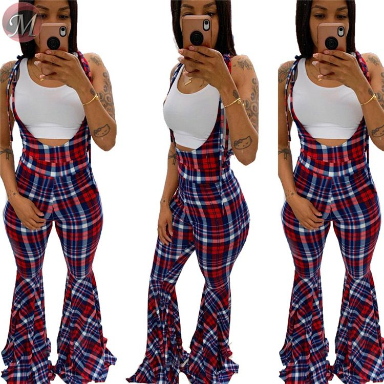 9082805 nieuwe stijlvolle casual plaid print flare Bodysuit mouwloze vrouwen mode jumpsuit