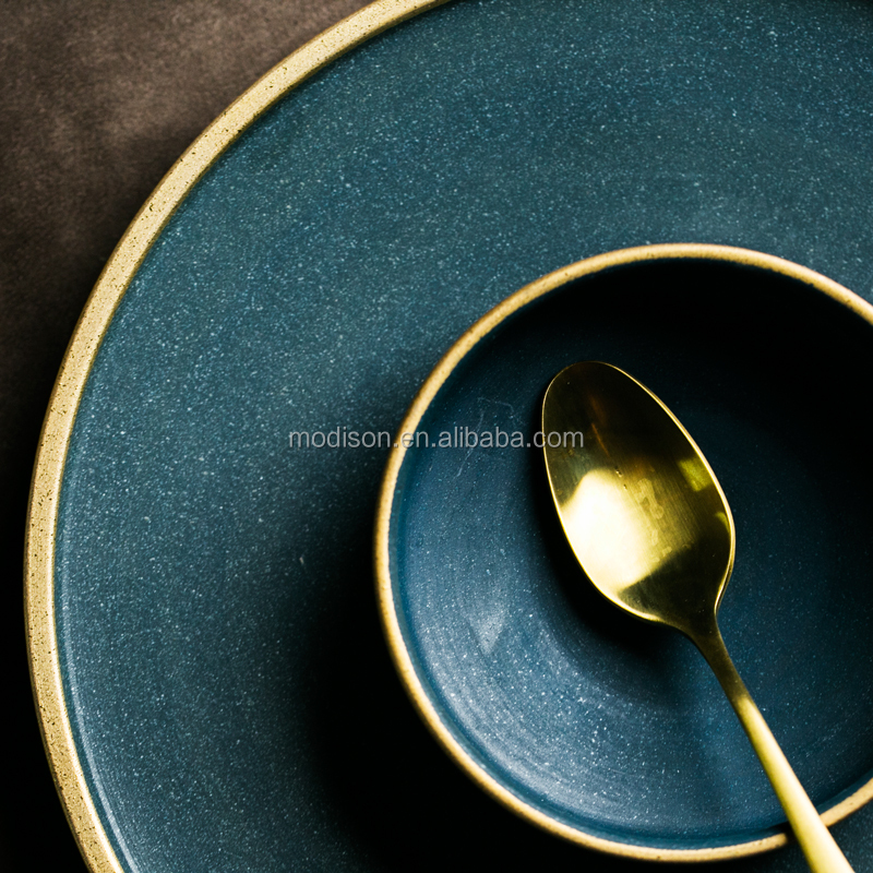 Modern Gold Rim Matte Green Porcelain Tableware Brazil Ceramic Dinnerware Sets