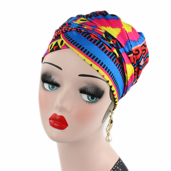 New Stretch Cotton Scarf Long Tail Cap Wrapped Head Cap Turban Africans Scarves And Hats Hair Wrap Turban