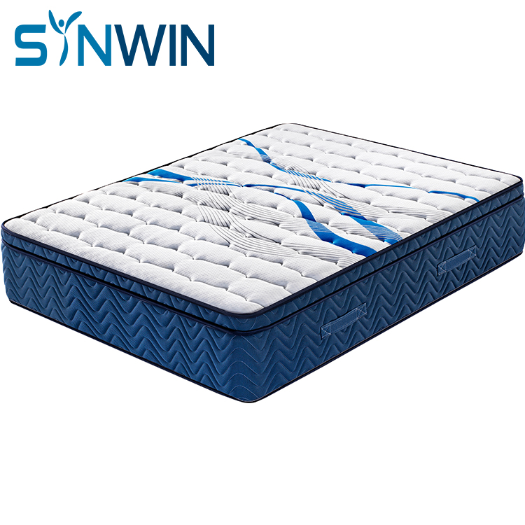 35cm 12 inch euro top natural fireproof  latex pocket spring mattress china