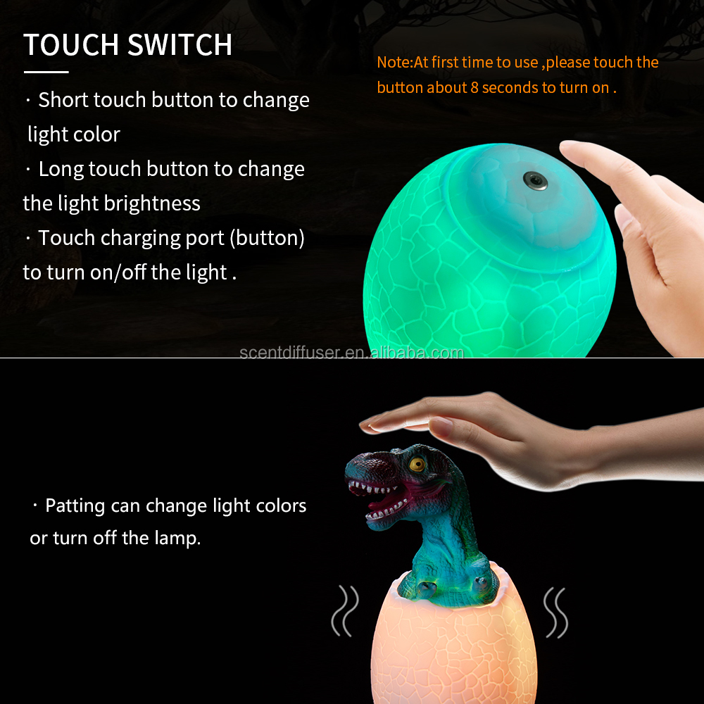 Best Dinosaur Toys, T Rex 3D Night Light 7 Colors Changing Night Lights for Kids with Timer & Remote Control & Smart Touch Lamp
