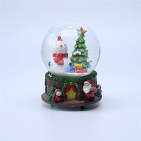 Personalised polyresin christmas tree and snowman glass snow globe ball
