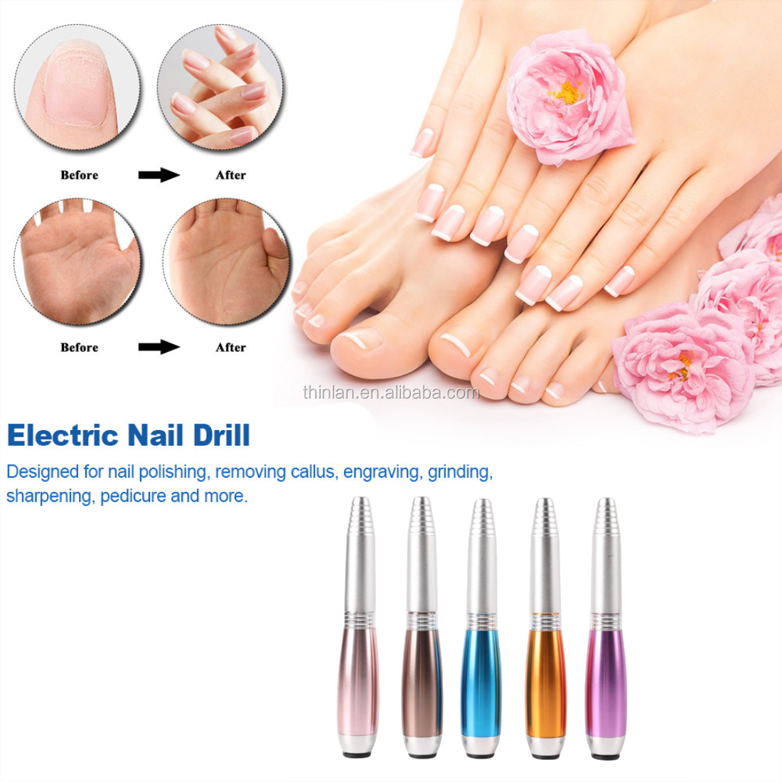 Top Sale Portable Pen-shape 200000 Mini Electronic Nail Drill with 12w Cordless Electric Nail Drill