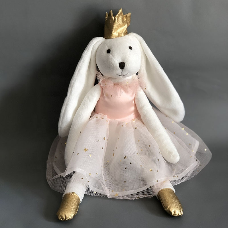 Custom logo Plush Bunny toy with Crown Personalization Clothes <strong>Rabbit</strong> for Christmas toy