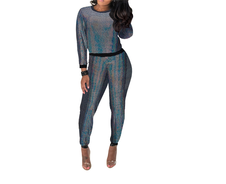 Wholesale Women Plus Size Sequins Top and Pants